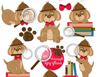 Doggy Detective Digital Clipart - Commercial Use OK - Clue Dog, Spy Dog, Detective Clipart, Cute Dog Detective Graphics