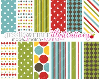 Boys Night Over Cute Digital Papers Backgrounds for Invitations, Card Design, Scrapbooking, and Web Design