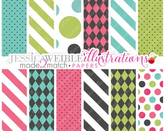 Made 2 Match Tutu Tomboy Cute Digital Papers - Commercial Use OK - Pink & Gray Color Papers, Polka Dot Backgrounds, Teal, Green, Pink