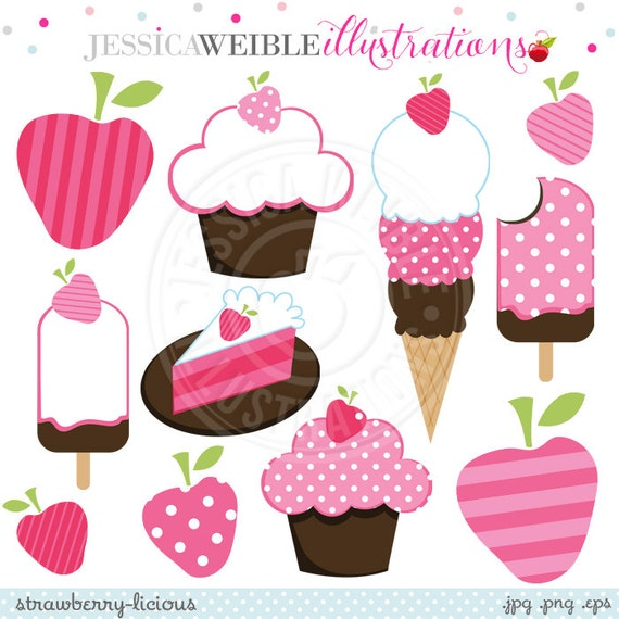 Strawberry-licious Cute Digital Clipart - Commercial Use OK - Strawberry Clipart, Strawberry Graphics, Pink Strawberries