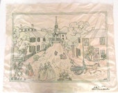"""Vintage Embroidered Panel Showing Colonial Village Scene, dated 1944, 35 by 27"""" D2"""