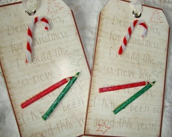 Letter to Santa tags party favors Christmas gift tags Child letter for Santa paper tags ornaments