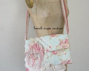 French Sugar Couture -  Parisian Up-cycled Bohemian Quilted Bag with Vintage Lace - Altered Couture