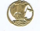 1 Round Galleon Ship Stamping