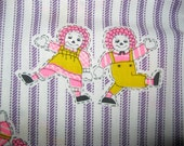 Vintage Raggedy Ann and Andy Fabric, Ticking Stripe, Cotton