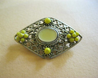 Vintage Midcentury Brooch, Pin, Yellow and Gold