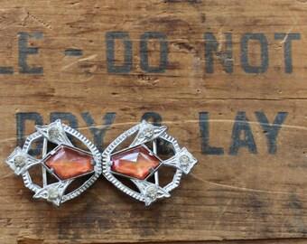 art deco buckle - glass stones - faceted - rhinestones - antique - vintage - white metal casting association