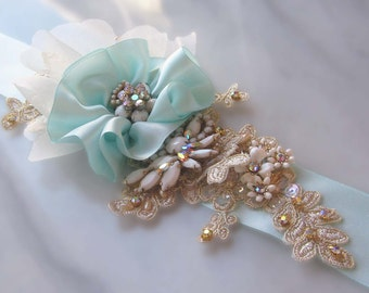 Soft Aqua and Gold Bridal Sash, Light Blue Wedding Belt with AB Rhinestones and Gold Lace - HAVANA