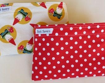 Reusable Snack Bag Set of Two Eco Friendly Gnomes Red Polka Dot