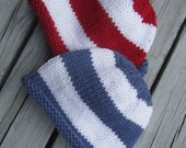 Knitted Baby Hats - Hand Knit Hats for Twins, Blue and White and Red and White