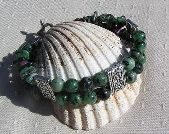 "Zoisite with Ruby Inclusions (Anyolite) Crystal Gemstone Bracelet ""Ruby Green"", Green Bracelet, Chakra Bracelet, Silver Bracelet, Gemini"
