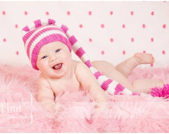 Knit Baby Hat, Valentines Stocking Elf Newborn, Knitted Infant Photo Prop, Pink, White, LONG tail, Munchkin Pixie Beanie