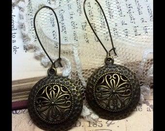 Natural Brass Circle Earrings