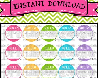 "EDITABLE My Name Is - INSTANT DOWNLOAD 1"" Bottle Cap Images 4x6 - 061e"