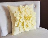 Light Yellow Dahlia Flower Pillow -Decorative Spring Pastel Pillow-
