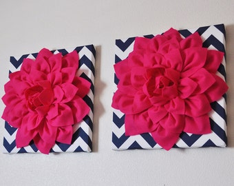 "TWO Wall Flowers -Hot Pink Dahlia on Navy and White Chevron 12 x12"" Canvas Wall Art- 3D Felt Flower"