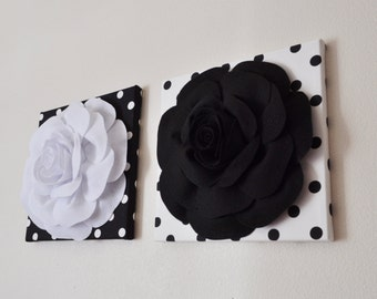 """Black and White Polka Dot Wall Hangings - Black and White Rose Flower Wall 12 x12"""" Canvases Wall Art- Baby Nursery Wall Decor-"""