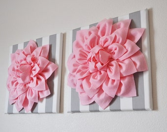 "TWO Nursery Wall Flowers -Light Pink Dahlias on Gray and White Stripe  12 x12"" Canvas Baby Nursery Wall Art-"