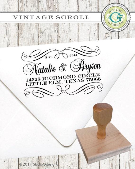 Return Address Stamp – 1.5 X 2.5 in VINTAGE SCROLL – Personalized Custom Wedding Paper Goods