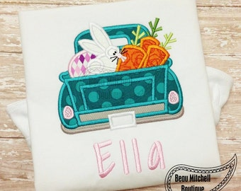 Easter Truck applique embroidery design