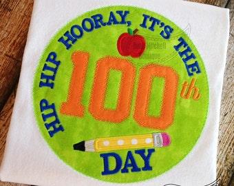 100 Days of school Hip Hip Hooray zig-zag applique embroidery design
