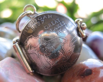 Michigan State Quarter Locket Pendant MADE TO ORDER.