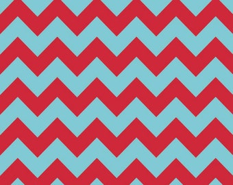 Medium Chevron Fabric in Aqua and Red by Riley Blake Fabrics, Tone on Tone Chevron, 1 Yard
