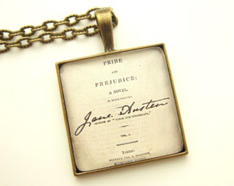 Jane Austen Necklace Literary Necklace Gift for Librarian Book Lover Gift Literary Jewellery UK Pride And Prejudice Necklace