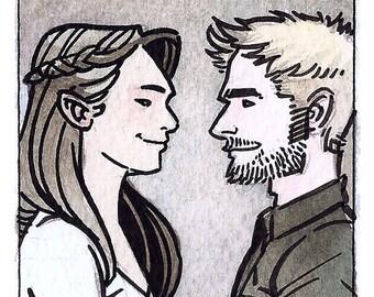 Couple Love Comic Book Watercolor Original Painting ACEO