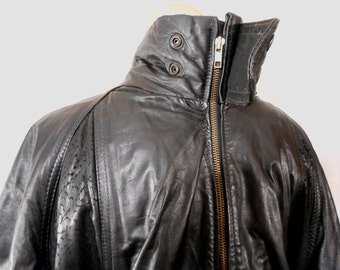 Men's Clothing Men's Jackets Leather Jacket Black Leather Jacket Men's Bomber Jacket Vintage Oleg Cassini Cafe Racer Jacket