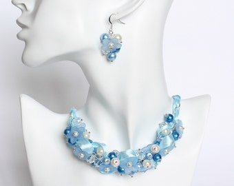 Sky Blue Flower Cluster Necklace and Earrings Set