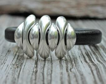 Pod Bracelet , Spike Bracelet , Leather Bangle , Silver Bracelet , Brass Bangle , Leather Bracelet , Spike Bangle , Amy Fine Design
