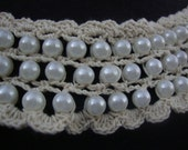 Crochet Beaded Neckline Applique Embellishment Necklace Pearl Beads Faux Pearls White Dress Bridal Lace Collar S119
