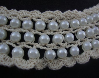 Crochet Beaded Neckline Applique Embellishment Necklace Pearl Beads Faux Pearls White Dress Bridal Lace Collar S110
