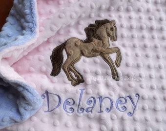 Personalized baby blanket-baby pink and lavender purple horse- baby girl lovey blanket