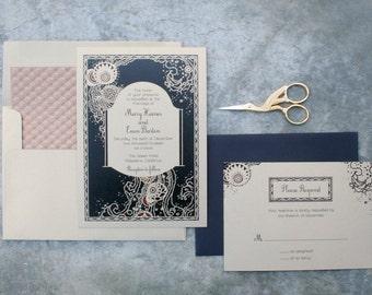Deco Wedding, Gold Wedding Invitation, Silver Wedding Invitation, Deco Glam, Art Deco Wedding Invitation, 1920s Wedding, Deco Wedding