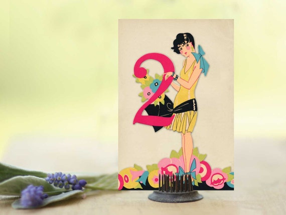 Table Numbers, Wedding Table Numbers, Art Deco Place Cards, Wedding Signs, Table Card Set of 18 featuring Cute Flapper Gals