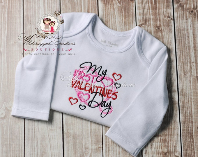My 1st Valentines Day Outfit for Babies - Custom Valentine's Day Shirt - Baby Girl First Valentine's Day Bodysuit