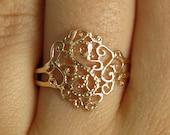 gold ring, gold band ring, lace ring, filigree ring, gold lace ring, modern ring, gold wide ring, delicate ring , dainty ring