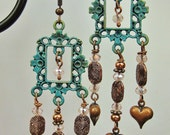Verdigris Patina ChandelierStatement Bold Dangle Drop Gypsy Cowgirl Earrings - GyPsY HeaRTs
