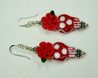RED SKULL Lampwork Day of the Dead Gothic Statement Mexican Fiesta Earrings - ReD FLoRaL SKuLLs