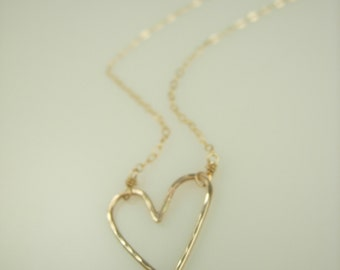 Tiny Open Heart Necklace - Silver or Gold Heart