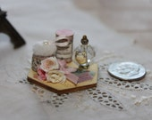Miniature Ladies Vanity Tray OOAK Laurel Designs Roses Powder Puff
