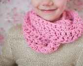 Crochet Infinity Scarf, Girls Scarf, Pink Scarf for Girls, Little Girl's Scarf, Crochet Toddler Scarf, Cotton