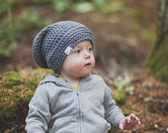 Grey Slouchy Hat for Toddler, Crochet Hat, Kids Slouch Hat, Crochet Slouchy Beanie, Boys Hat, Girls Hat, 12 Months to Adult (Reese)