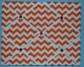 Orange and white chevron print french memo board, 16 x 20