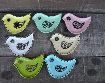 Hand Painted Ceramic Henna Bird Spoon Rest, Dish, Tea Bag Holder - Pick your Color Dish