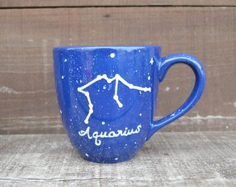 Zodiac Constellation Mug - Pick Your Astrological Sign - 22 oz. - Hand Painted Coffee or Tea Mug- Black or Blue Starry Night Sky