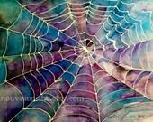 Spider Web Art, Halloween, Digital Download, printable art, small art print file