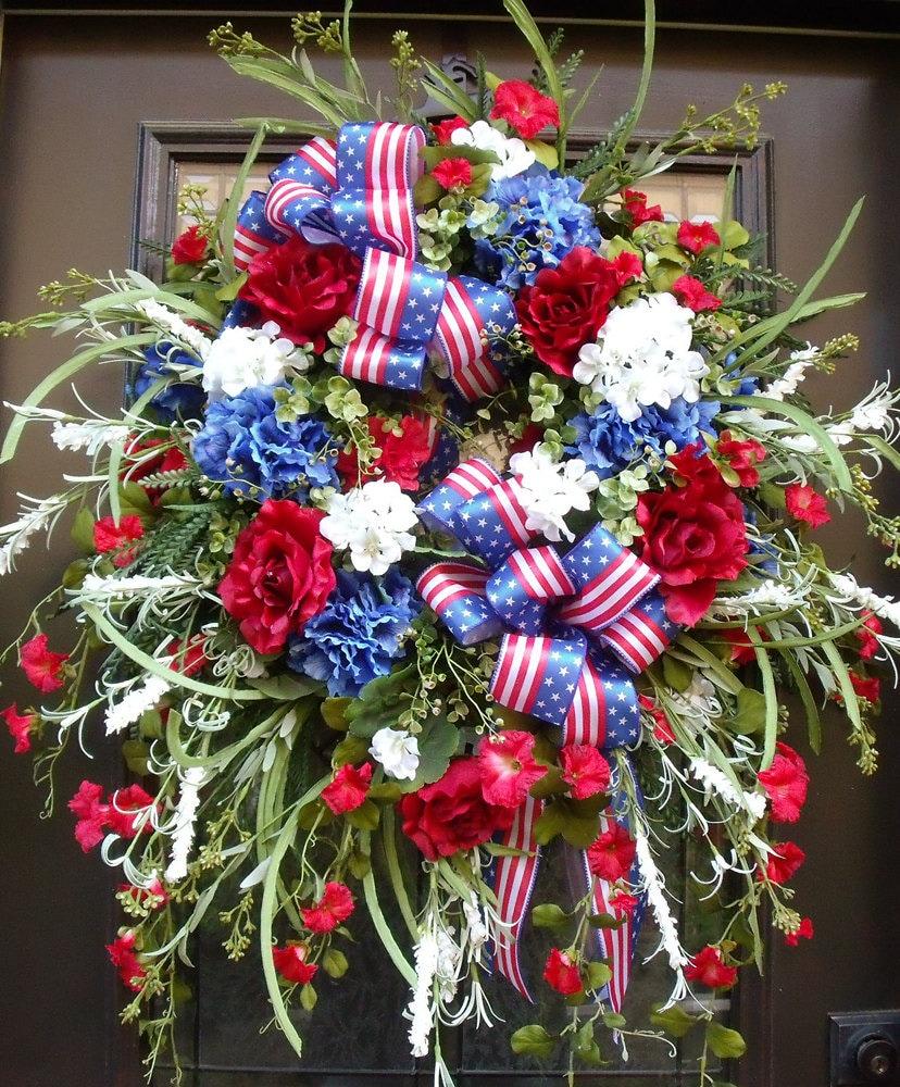 xxl memorial day wreath patriotic wreath 4th of july wreath. Black Bedroom Furniture Sets. Home Design Ideas